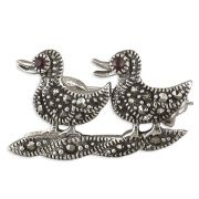 Sterling Silver Marcasite two little ducks Brooch